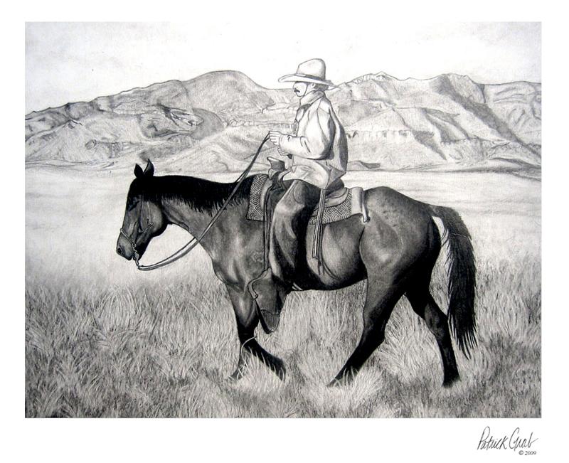 Western Drawing Western Cowboy Portrait